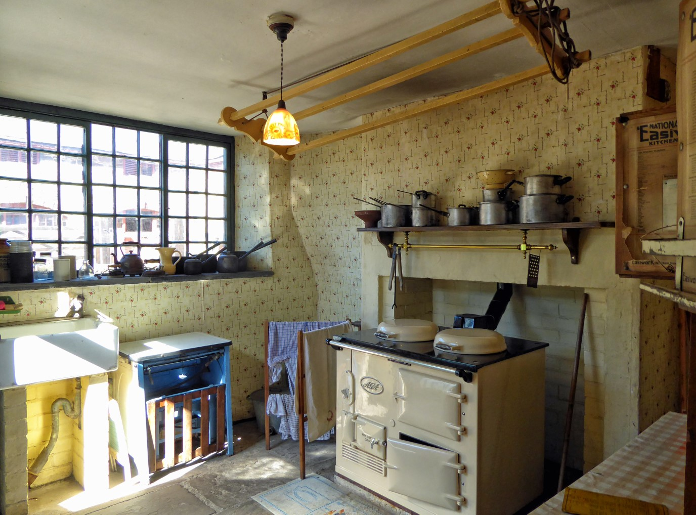 Old-fashioned kitchen range and sink