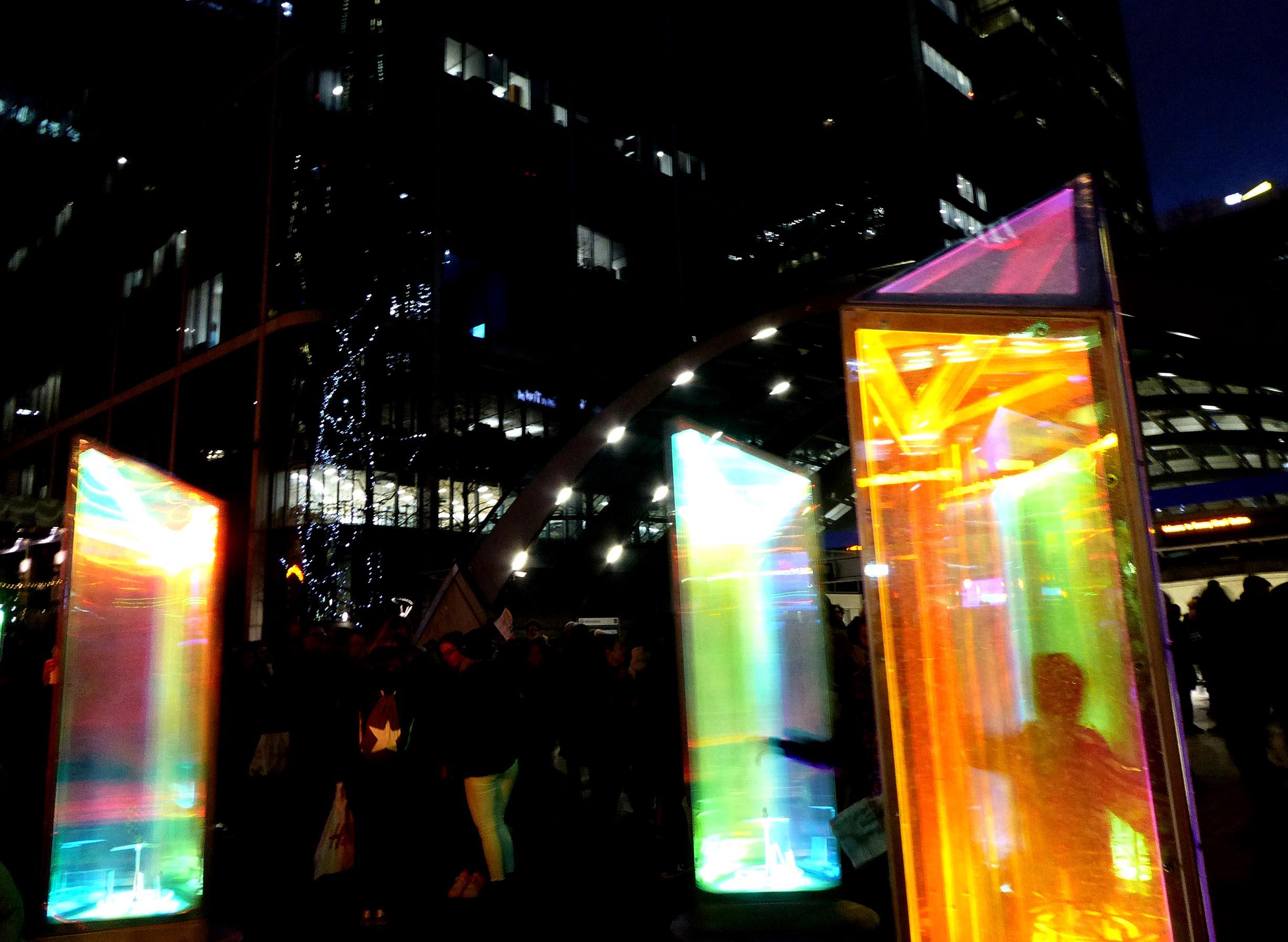 Coloured light prism shapes