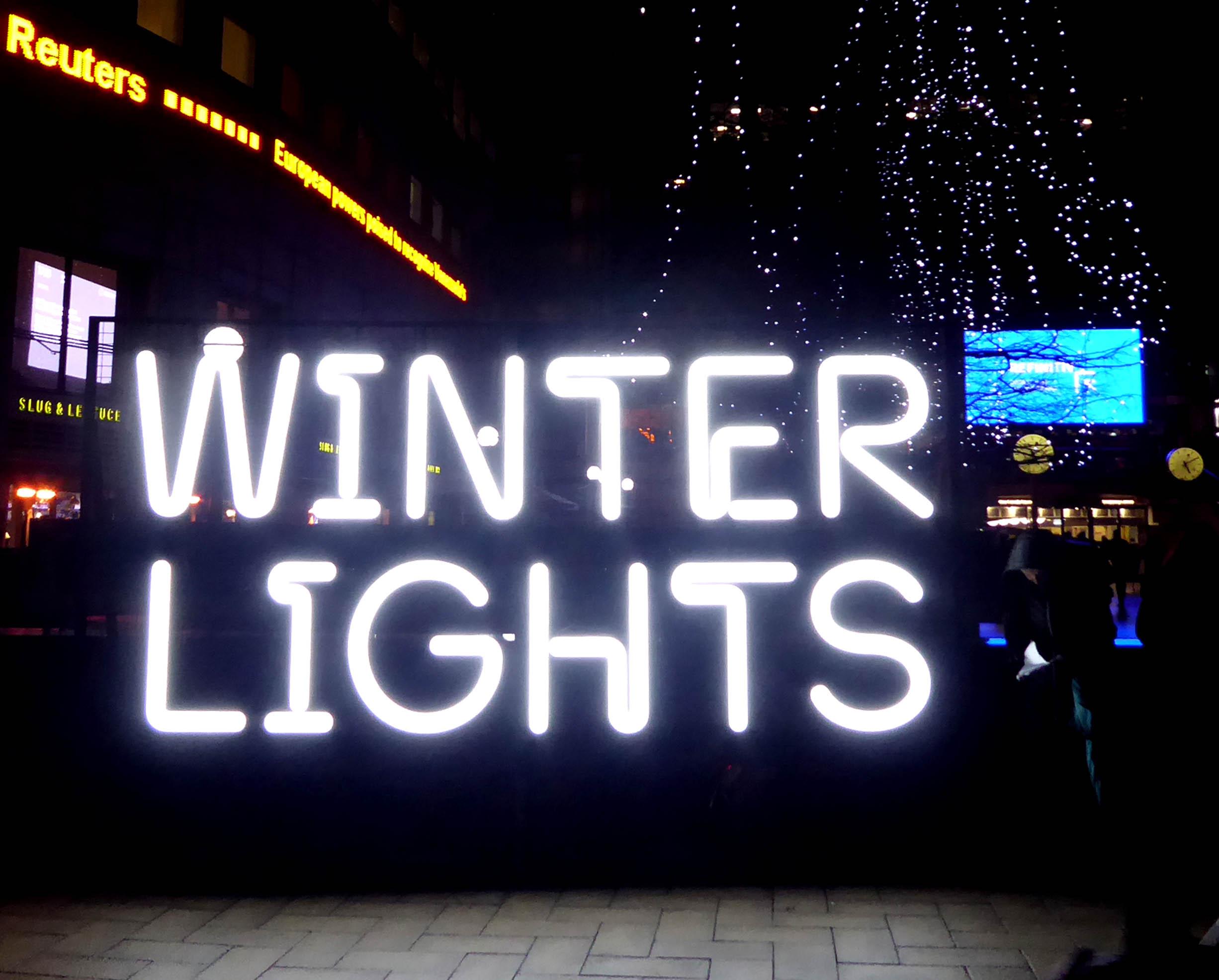 Neon sign saying winter lights