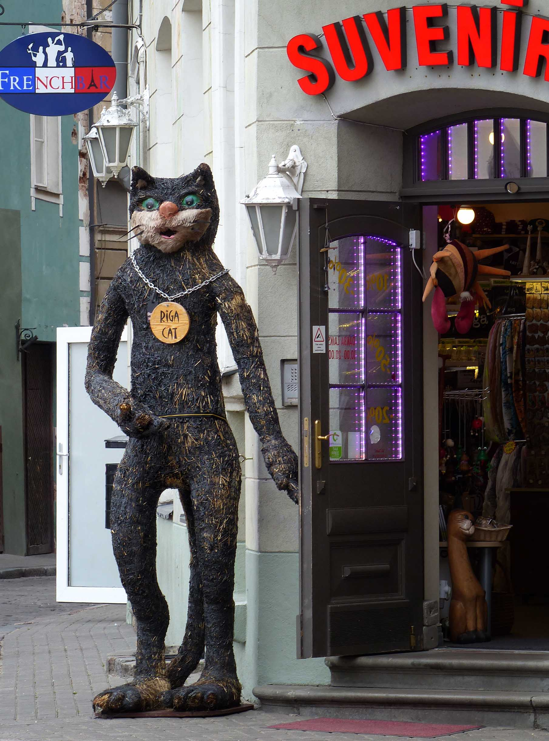 Large upright black cat by a shop doorway
