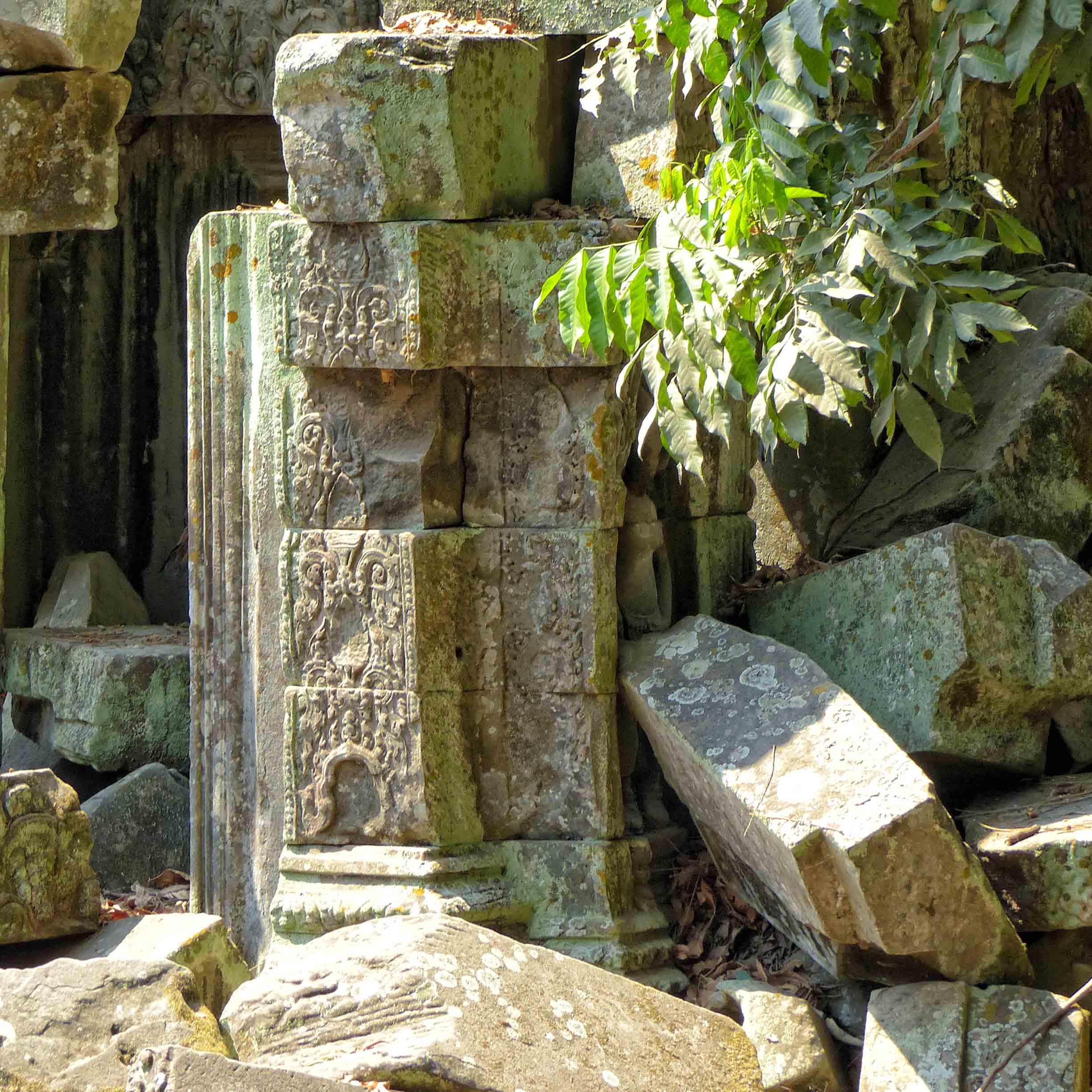 Tumbledown carved stone ruin