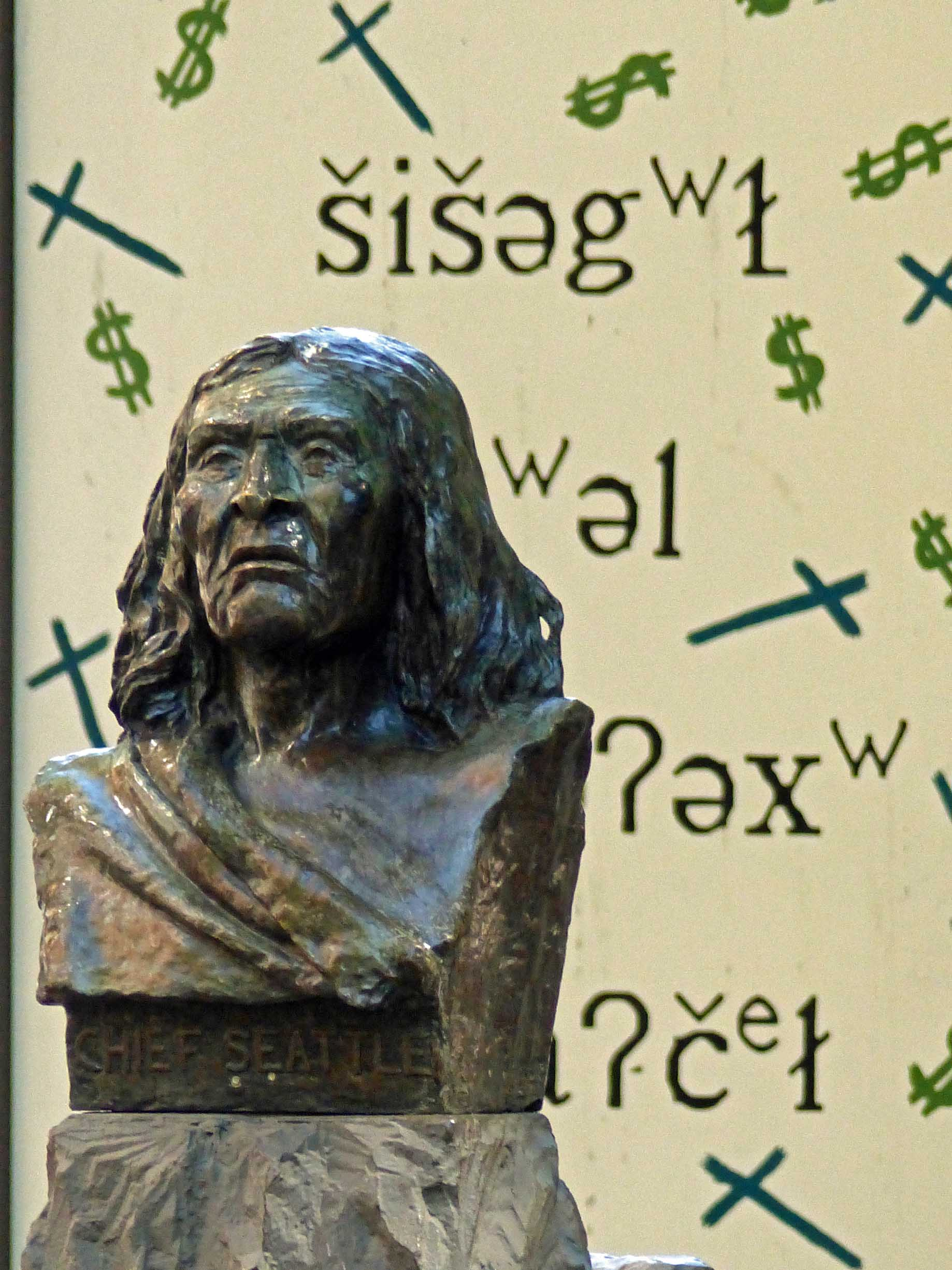 Stone bust of a Native American