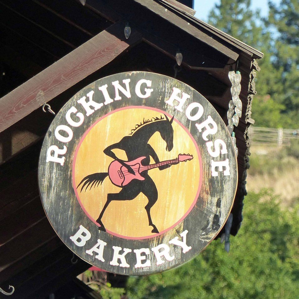 Wooden sign of the Rocking Horse Bakery