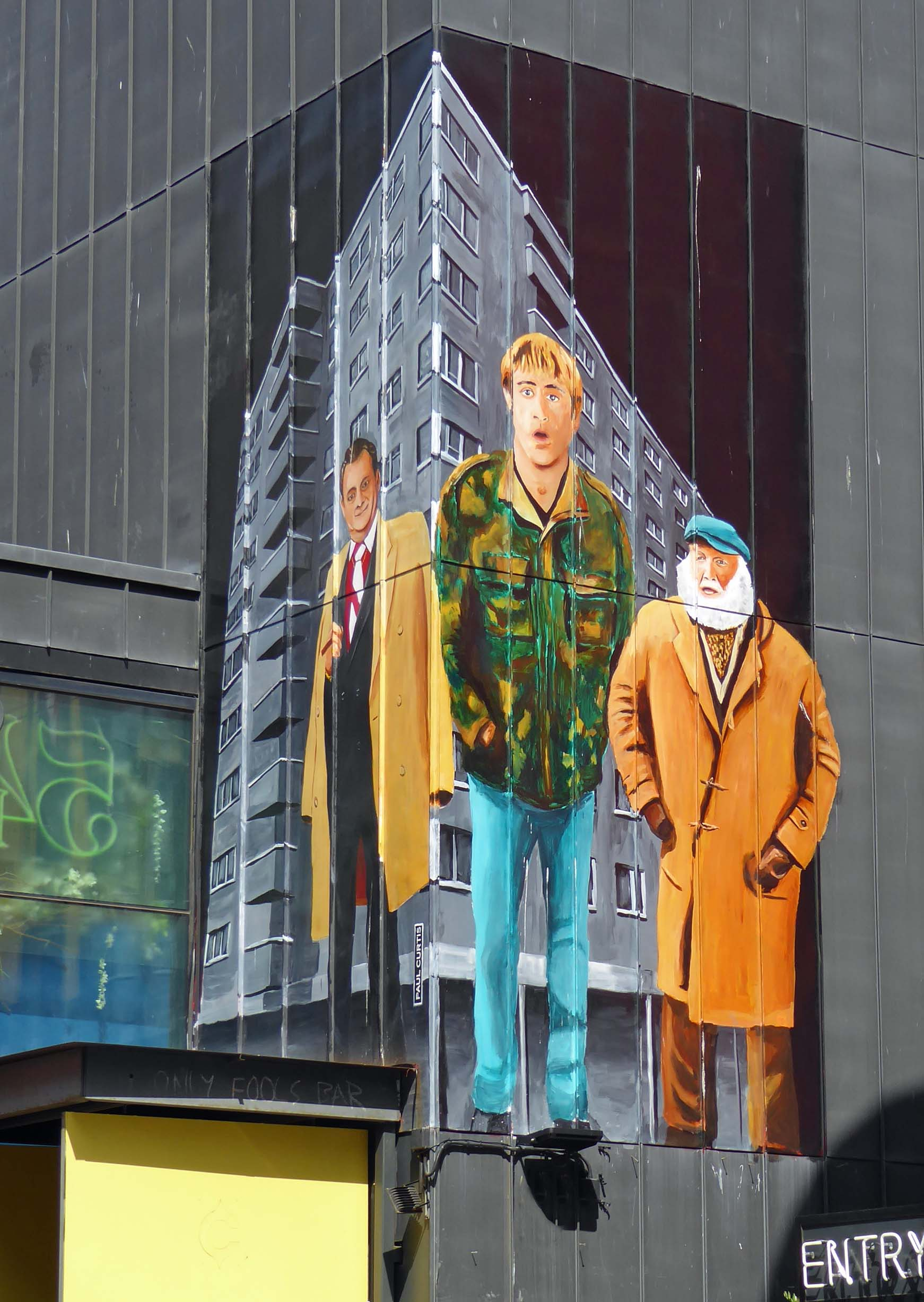 Wall painting of characters from Only Fools and Horses