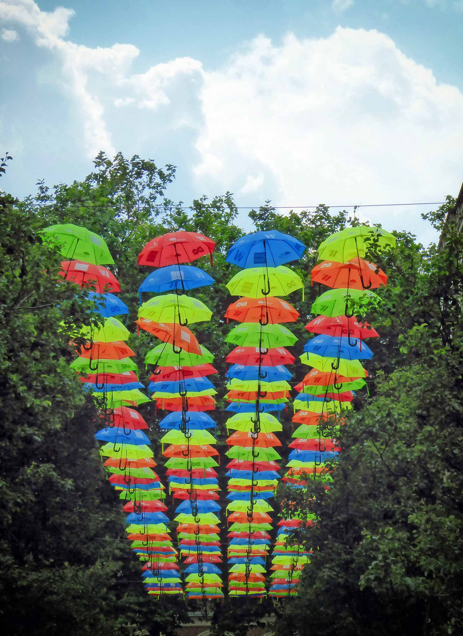 Brightly coloured umbrellas suspended among trees