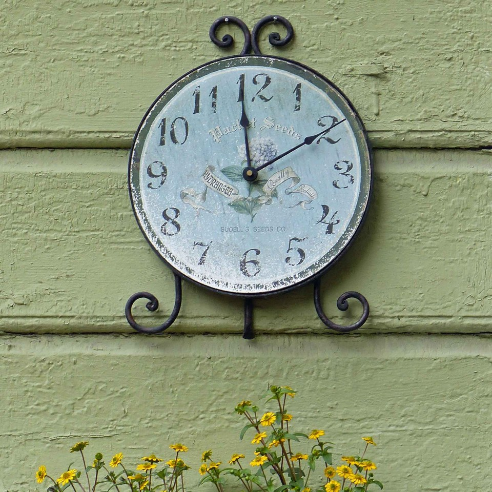 Faded decorative clock on a green painted wall