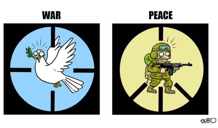 War and Peace, Cartoon byGuffo Caballero, fromMonterrey, Nuevo León, Mexico
