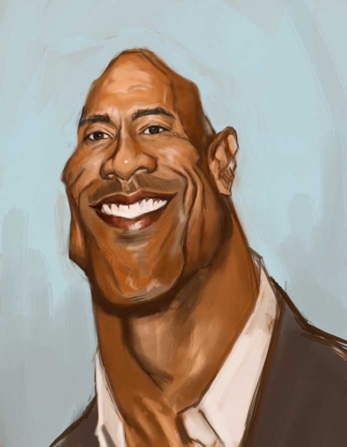 The smile of The Rock, Caricature by Jason Horning, from the United States
