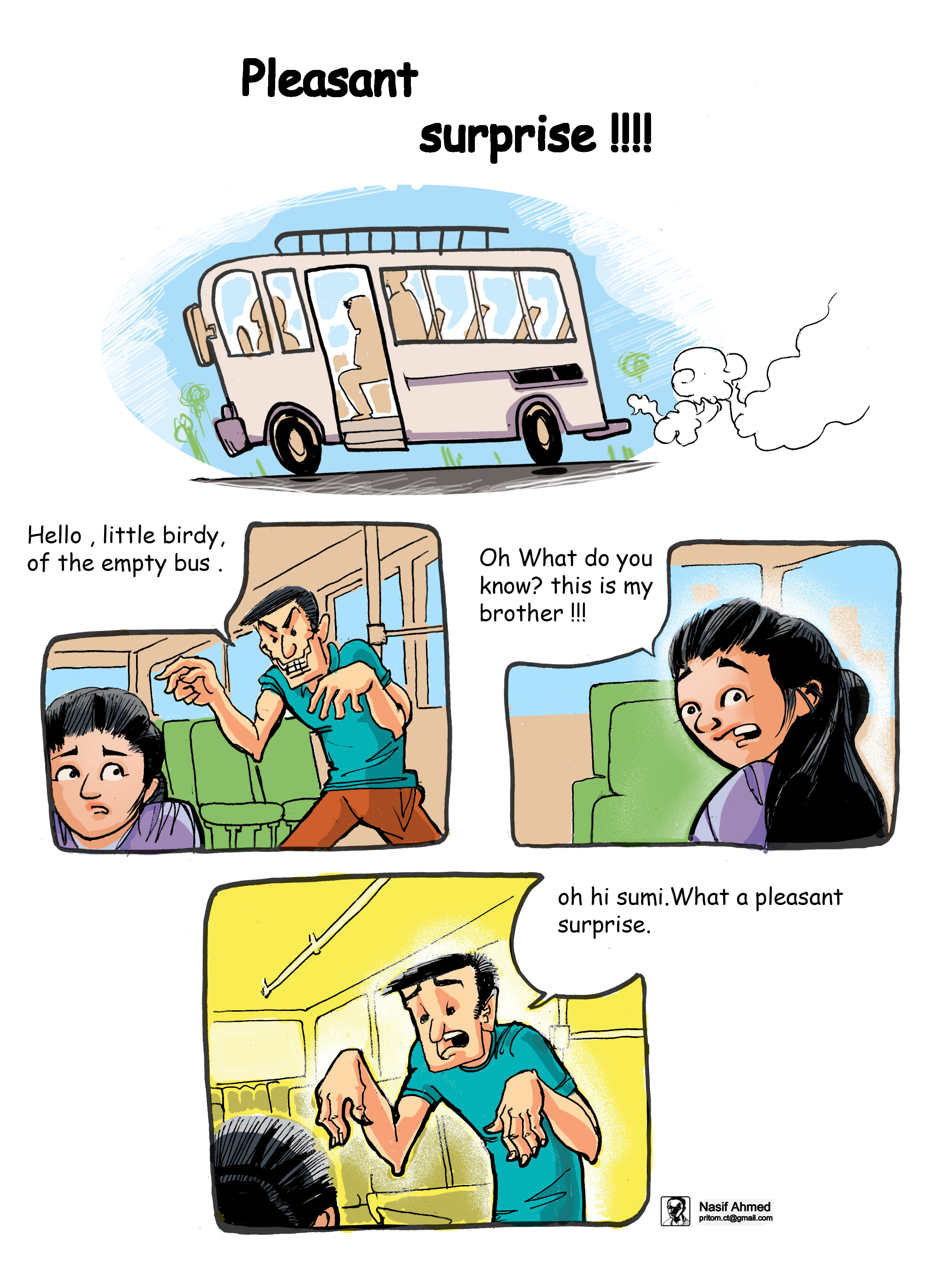 This cartoon is on Sexual harassment in empty bus.