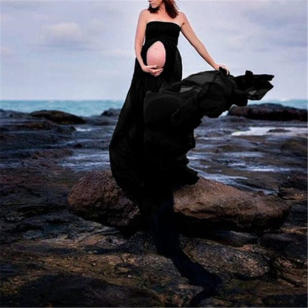 Pregnancy Clothing Maternity Stretchy Sexy lash Neck Maxi Dresses Women Photo Shoot Clothing