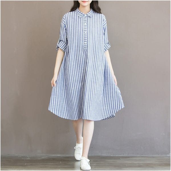 Maternity Clothes T-shirt Dress For Pregnant Women Dress Long Sleeve Striped Nursing Dress For Pregnancy Breastfeeding Outfits