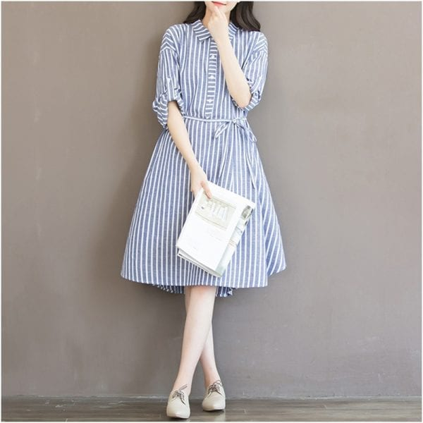 Maternity Clothes T-shirt Dress For Pregnant Women Dress Long Sleeve Striped Nursing Dress For Pregnancy Breastfeeding Outfits 5