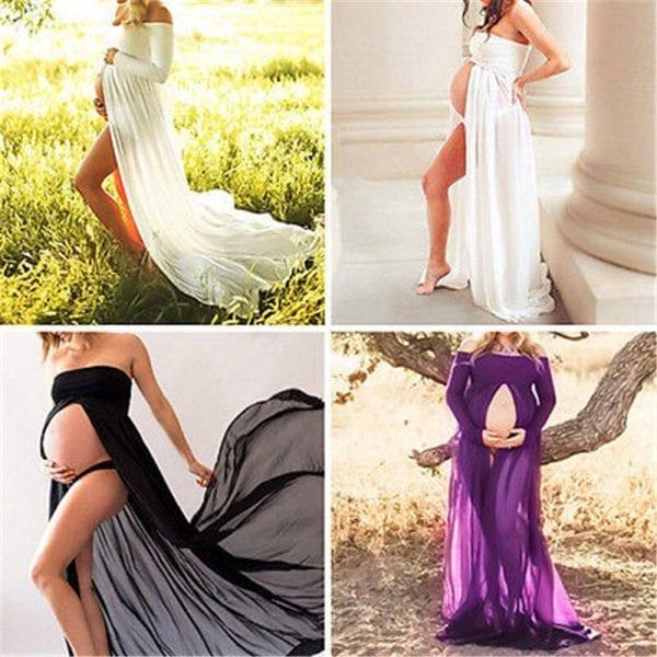 Pregnancy Clothing Maternity Stretchy Sexy lash Neck Maxi Dresses Women Photo Shoot Clothing 1