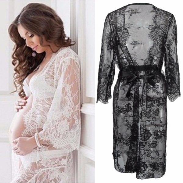 Puseky Maternity Photography Props Pregnant Dress For Photo Shoot Maternity Clothes Long Lace Dress Pregnancy Clothing V Neck 2