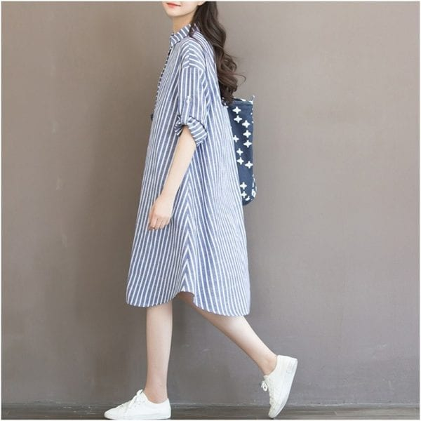 Maternity Clothes T-shirt Dress For Pregnant Women Dress Long Sleeve Striped Nursing Dress For Pregnancy Breastfeeding Outfits 2