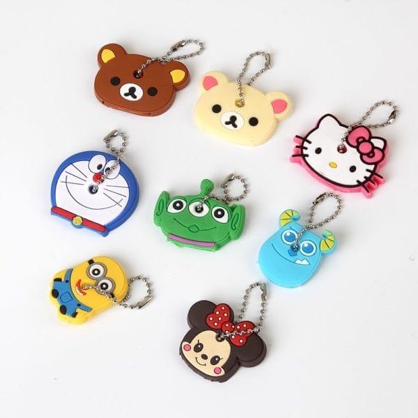 Cartoon Anime Cute Key Cover Cap Silicone Mickey Stitch Bear Keychain Women Gift Owl Porte Clef Hello Kitty Minne Key Chain 4