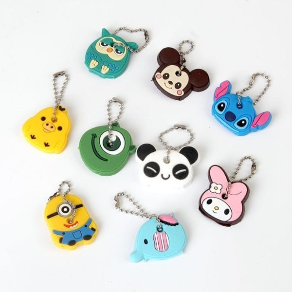 Cartoon Anime Cute Key Cover Cap Silicone Mickey Stitch Bear Keychain Women Gift Owl Porte Clef Hello Kitty Minne Key Chain 5