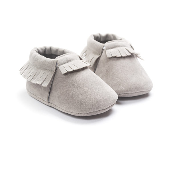 PU Suede Leather Newborn Baby Boy Girl Moccasins Soft Shoes Fringe Soft Soled Non-slip Crib First Walker 2