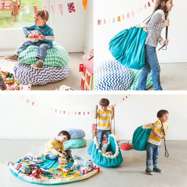 Hot Portable Waterproof Kids Children Infant Baby Play Mat Large Storage Bags Toy Organizer Blanket Rug Boxes Outdoor Pad Y0089 5