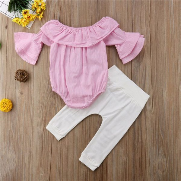 MUQGEW Toddler Infant Overalls Baby Girl Clothes Striped Tops Romper Ripped Pants Outfits Clothes Set roupas infantis menina 2