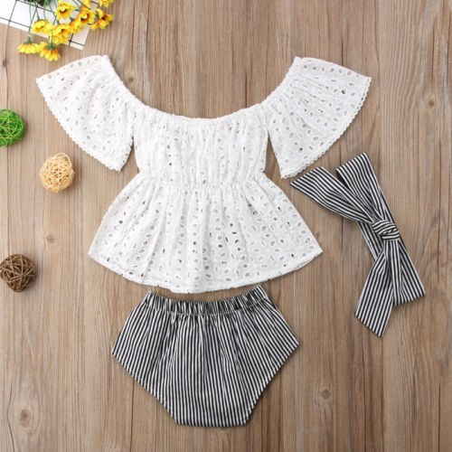 3pcs Toddler Baby Girl clothes set Lace  hollow out  short sleeve Top +Stripe Shorts +headband 3Pcs Outfits set clothes 3