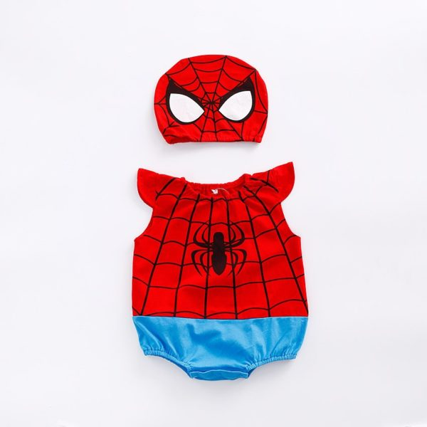 1pc romper 1pc Hat Newborn Baby Cotton rompers suits baby boys'  clothing Dragon Ball Spiderman Hero outifts Summer jumpsuits 1