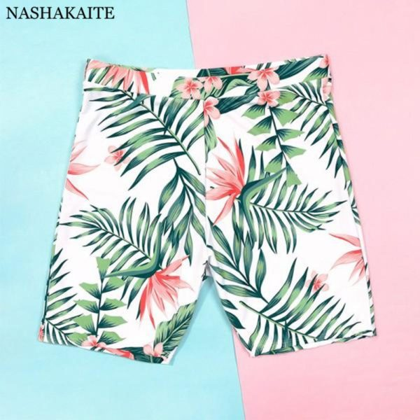 Family Matching Swimwear Tropical Leaf Print Beachwear mae e filha Mommy and me swimsuit swimming trunks for kids men Family Set 3