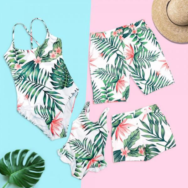 Family Matching Swimwear Tropical Leaf Print Beachwear mae e filha Mommy and me swimsuit swimming trunks for kids men Family Set 5
