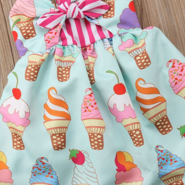 2018 Toddler Kids Baby Girls Strap Backless Dress Ice Cream Sundress Summer Cute Green Clothes 3