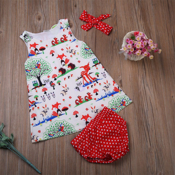 Newborn Baby Girl Clothes Toddler Floral Headband Cartoon Dress Dot Shorts Outfits Clothes 0-24M 3pcs sets