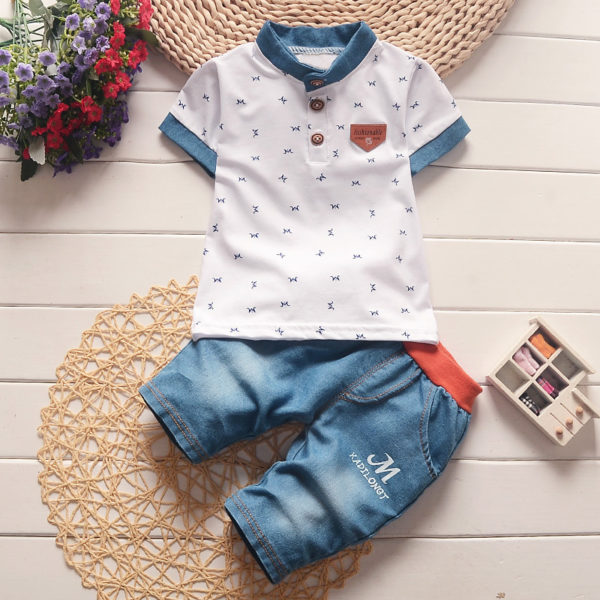 BibiCola baby boys summer clothes newborn children clothing sets for boy short sleeve shirts + jeans cool denim shorts suit