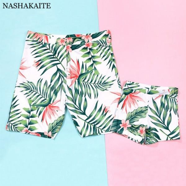 Family Matching Swimwear Tropical Leaf Print Beachwear mae e filha Mommy and me swimsuit swimming trunks for kids men Family Set 2