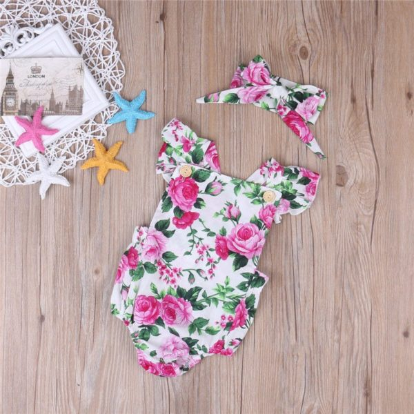 2018 New Summer 2PCS Floral Baby Girl Clothes Ruffles Halter Romper Bodysuit Headband Outfit Toddler Kids Clothing Set 0-24M 1