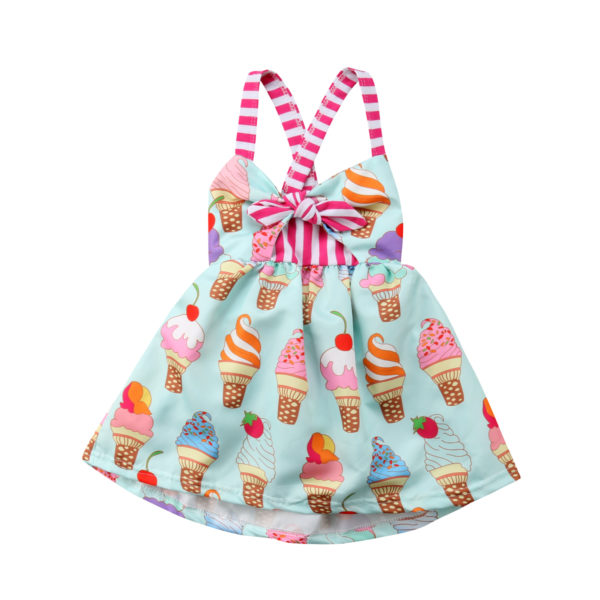 2018 Toddler Kids Baby Girls Strap Backless Dress Ice Cream Sundress Summer Cute Green Clothes
