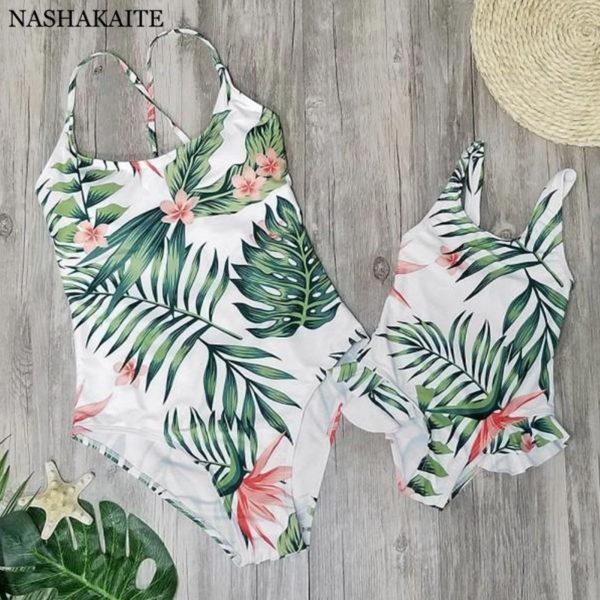 Family Matching Swimwear Tropical Leaf Print Beachwear mae e filha Mommy and me swimsuit swimming trunks for kids men Family Set 1