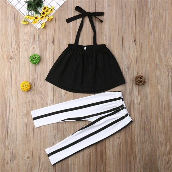 1-6Y Cute Girls Summer Clothing Kid Strap Tops+Striped Pants Leggings 2pcs Outfits Kids Fashion Clothes toddler girl clothes 2