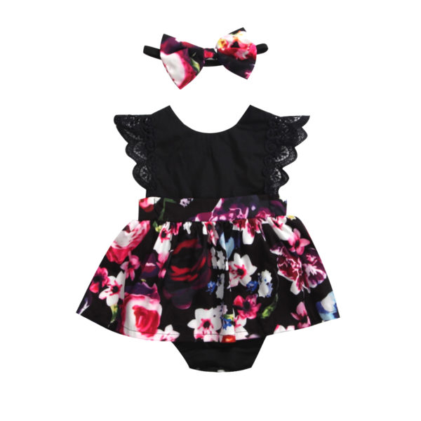 2018 FOCUSNORM Newborn Baby Infant Girl Romper Tutu Dress Headband Floral Outfits Party Dress 5