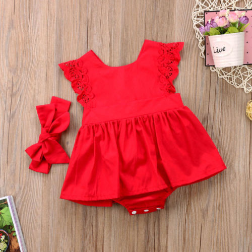 New Arriavl Christmas Ruffle Red Lace Romper Dress Baby Girls Sister Princess Kids Xmas Party Dresses Cotton Newborn Costume 5