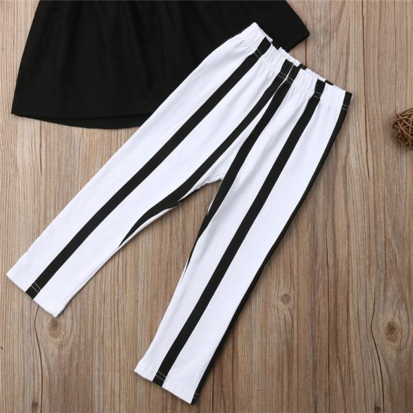1-6Y Cute Girls Summer Clothing Kid Strap Tops+Striped Pants Leggings 2pcs Outfits Kids Fashion Clothes toddler girl clothes 4