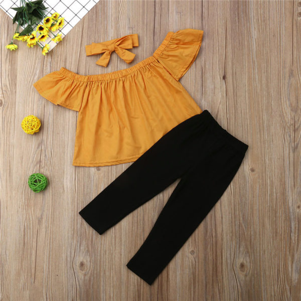 Toddler Baby Girls clothes Off Shoulder pullover short sleeve Tops solid Pants Bow Headband 3pc kids cotton lovely Outfits 5