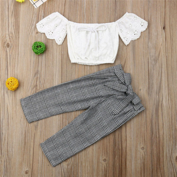 2-7T Toddler Kids Baby Girls Clothes set Summer Off Shoulder Lace Crop Top and long Pants Cute lovely Sweet Streetwear outfits 1