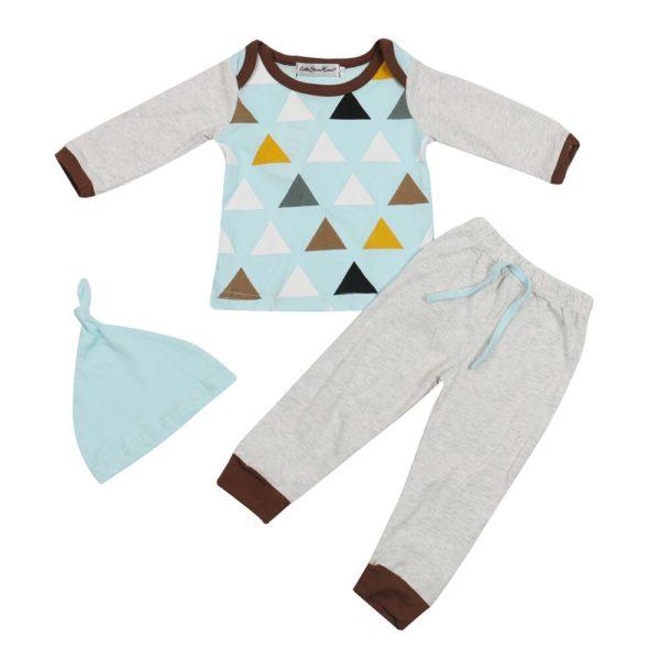 3PCS Newborn Spring Cotton blue cute Baby Boys Girls clothes set O-Neck baby Clothing Sets Long sleeve T Shirt+Hat+Pants toddler 4