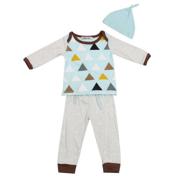 3PCS Newborn Spring Cotton blue cute Baby Boys Girls clothes set O-Neck baby Clothing Sets Long sleeve T Shirt+Hat+Pants toddler 3