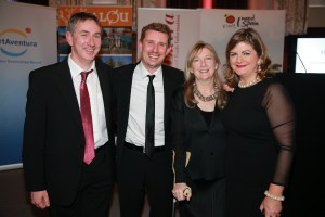 Conor Power pictured at the Travel Extra Travel Writer of the Year Awards, January 2015 (l-r Pól O Conghaile, Independent.ie, Deirdre Conroy and Madeleine Keane, Sunday Independent) Pic: Arthur Carron