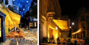 Keeping Tradition Alive: The famous café as it was painted by Van Gogh and as it is today (R)