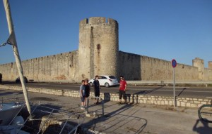 Port Stop: Crew disembarking at the quayside of Aigues Mortes