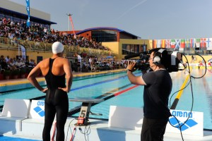 All eyes on the swimmers: competitors line up for an international swimming event at Canet-en-Rousillon