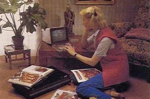 The height of sophistication: A lady somewhere in France consults her Minitel circa 1982