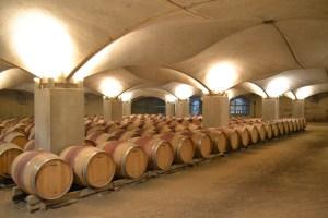 A section of the Château de Mercuès wine cellar