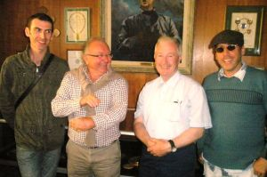 Celtic Brotherhood: Twinning Committee presidents Gwenaël Milliner (left) and Billy O'Regan (second from right) in Brittany.
